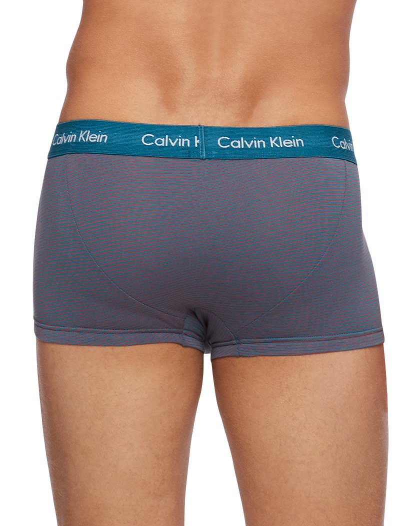 Flame Scarlet/Flame Scarlet Stripe/Corsair Back Calvin Klein 3-Pack Cotton Stretch Fashion Trunk NU2664