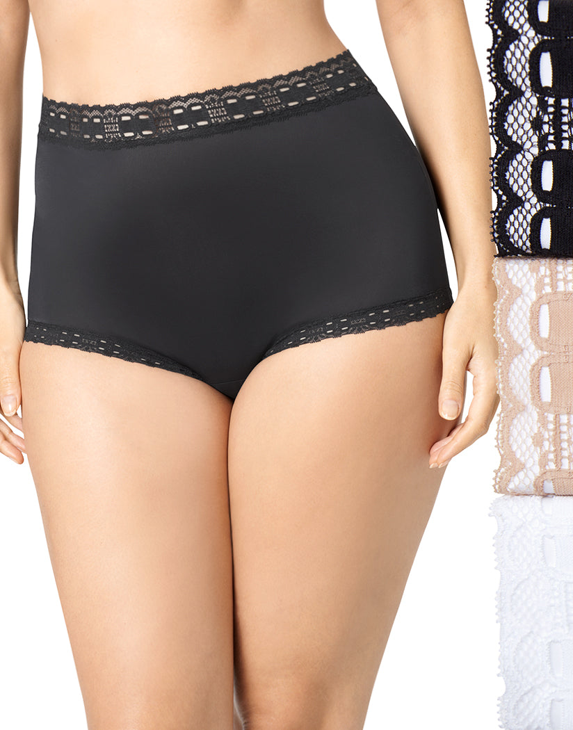 Black/French Toast/White Front Olga Secret Hugs Brief 3-Pack 873J3