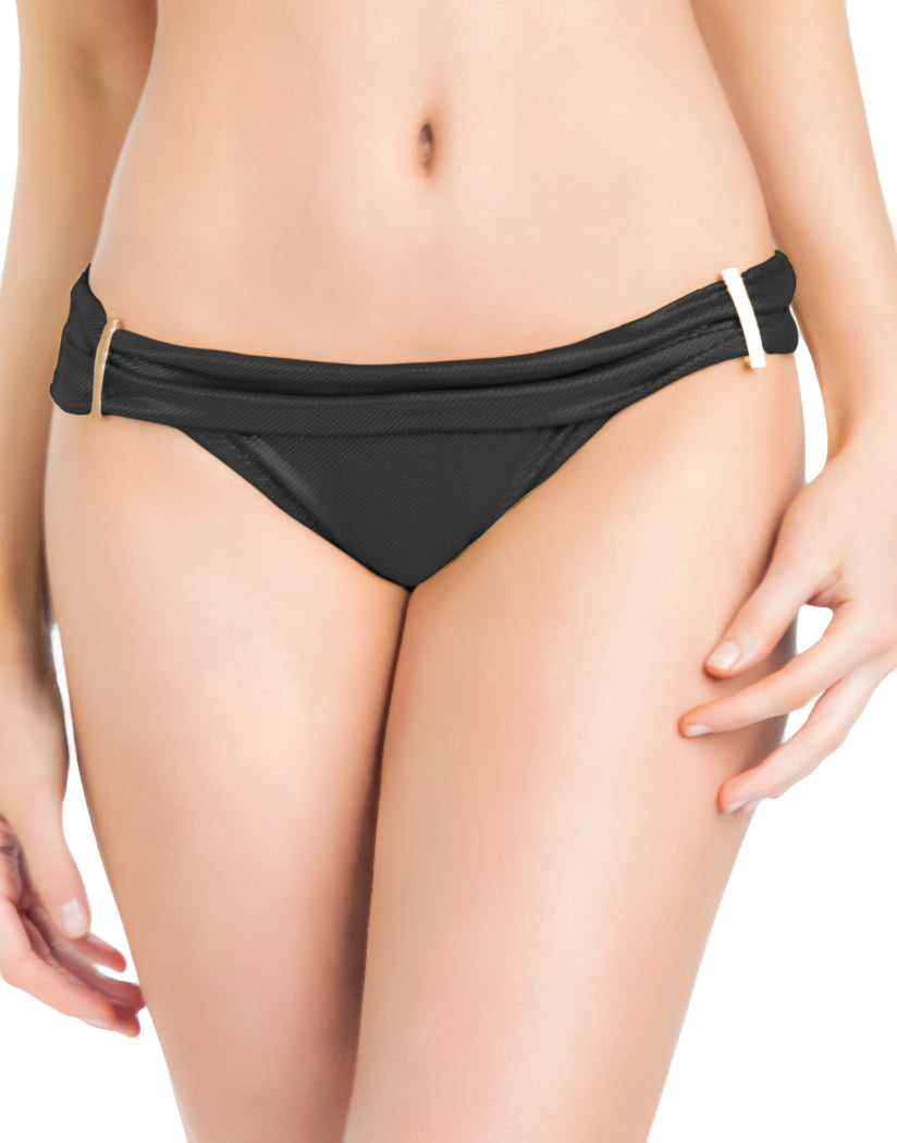 Black Front Oh La La Cheri Foldover Bikini Bottom with Hardware Detail 1700