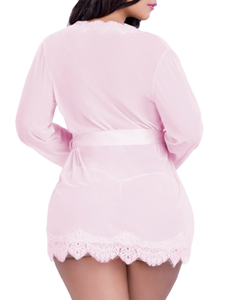 Pink Back Oh La La Cheri Eyelash Lace Robe with G-String