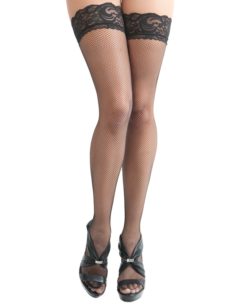 Black Front Oh La La Cheri Fishnet Thigh High with Backseam