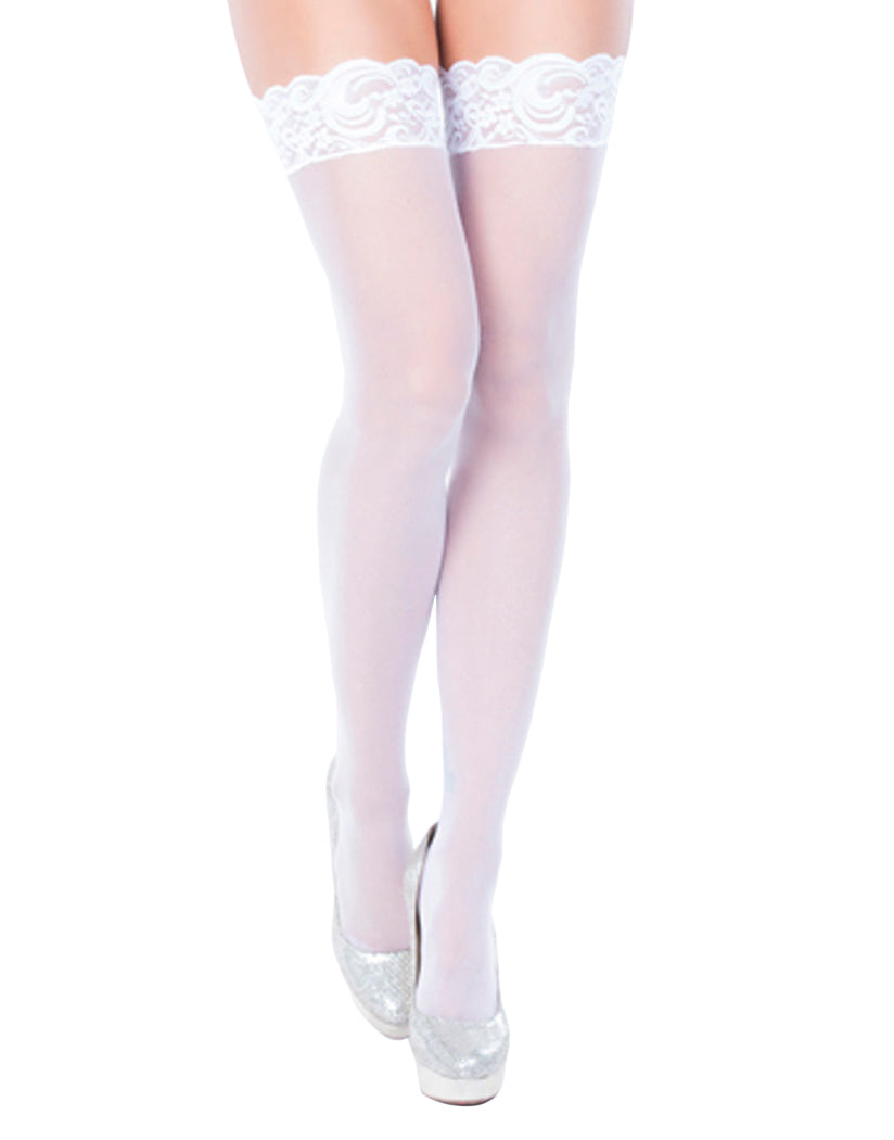 b16113b1eff49c White Front Oh La La Cheri Lace Top Sheer Thigh High with Silicone