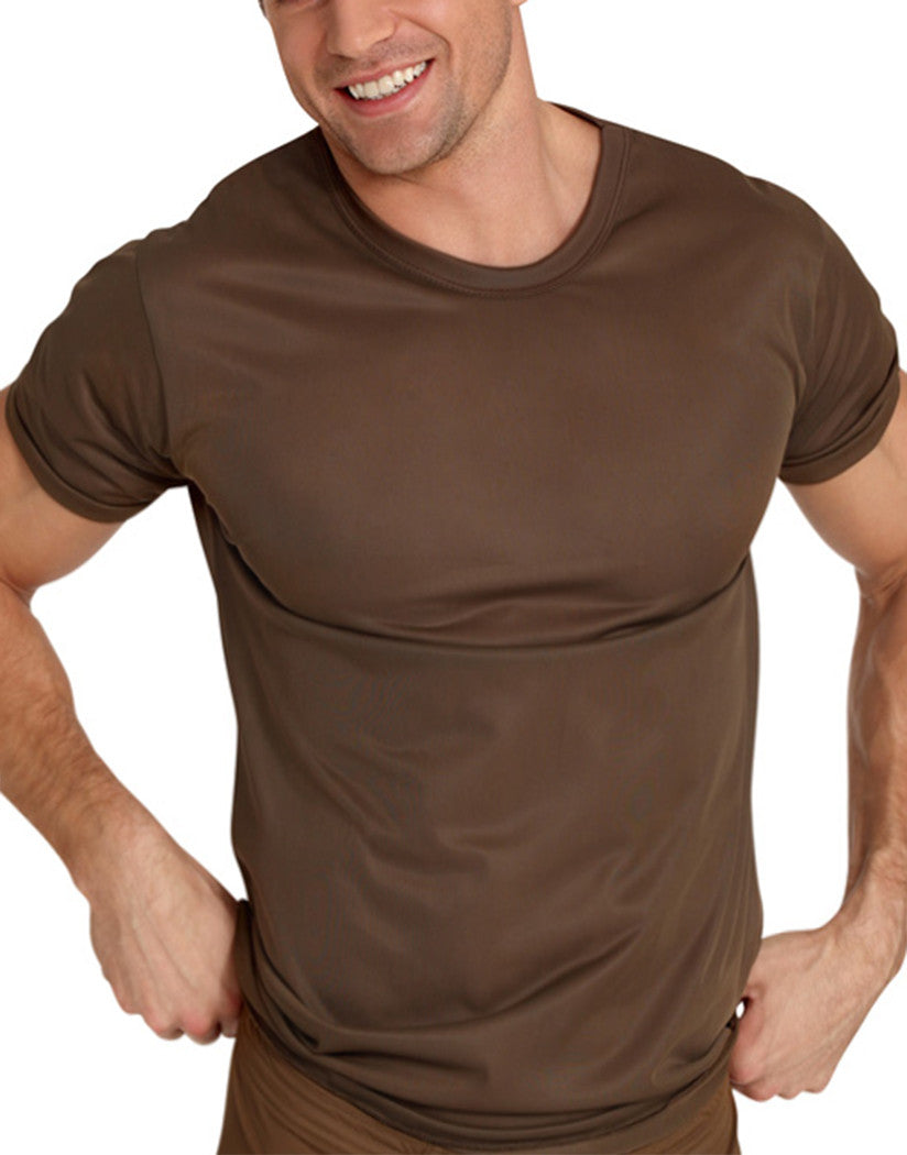 Brown Front Tricot Nylon Crew T-Shirt