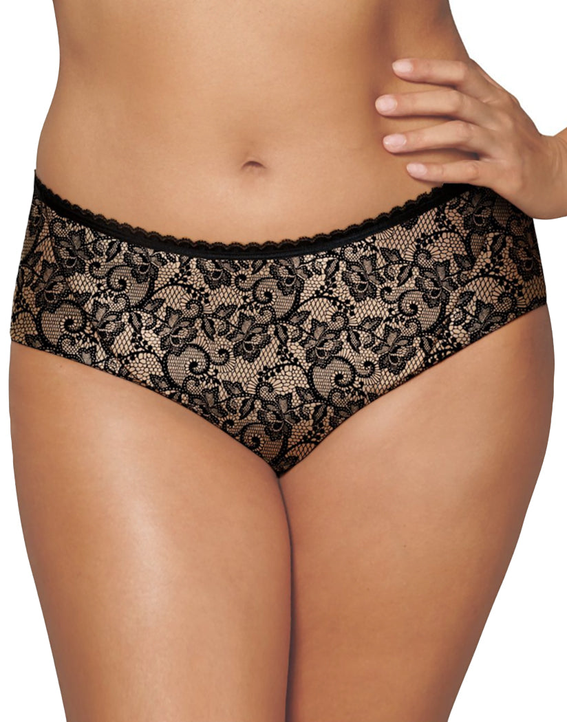 Black/Nude Lace Print Front Playtex Incredibly Smooth Cheeky Hipster