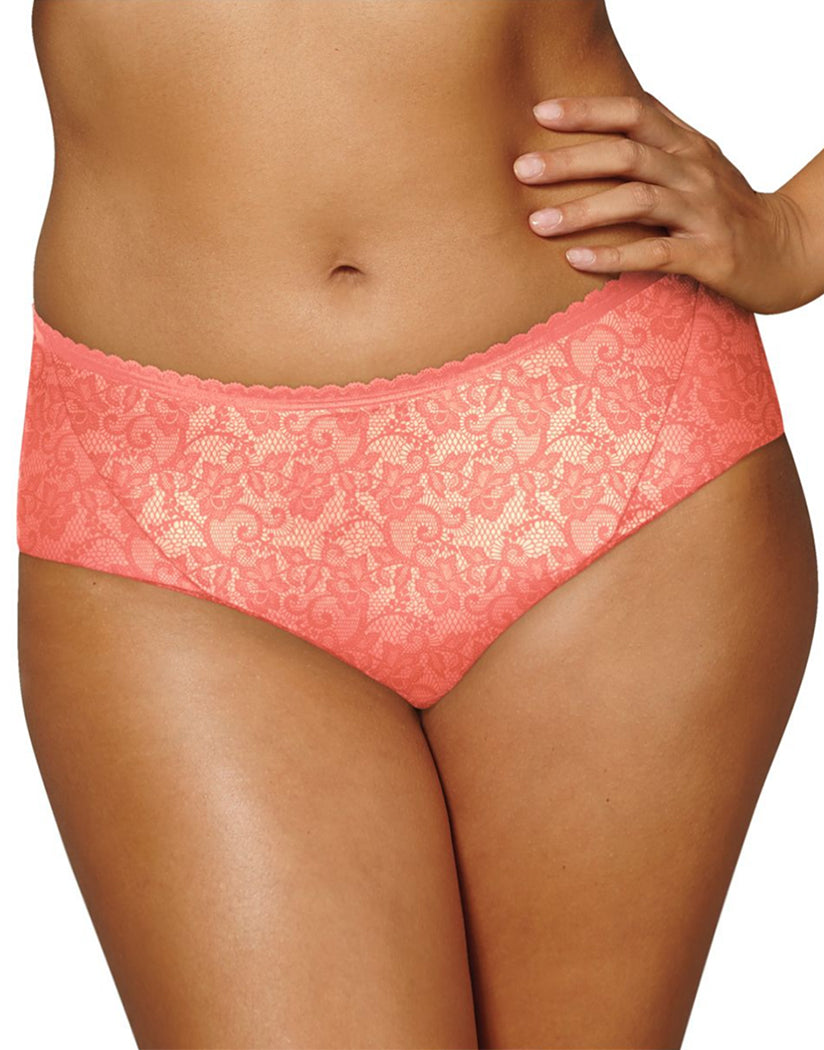 Coral Peach w/Coral Punch Lace Print Front Playtex Incredibly Smooth Cheeky Hipster PSCHHL