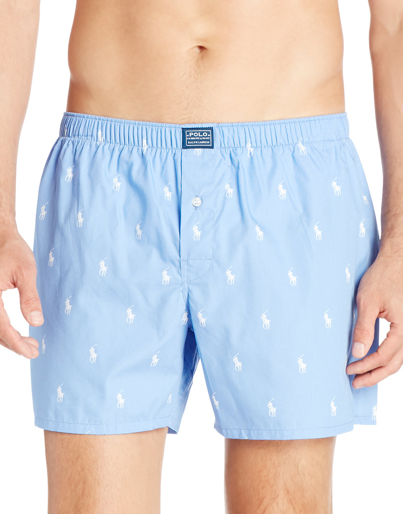 Beach Blue/White Front Classic Cotton Woven Boxer All Over Polo Horse