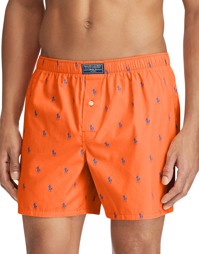 May Orange/Liberty Front Polo Ralph Lauren Classic Cotton Woven Boxer All Over Polo Horse