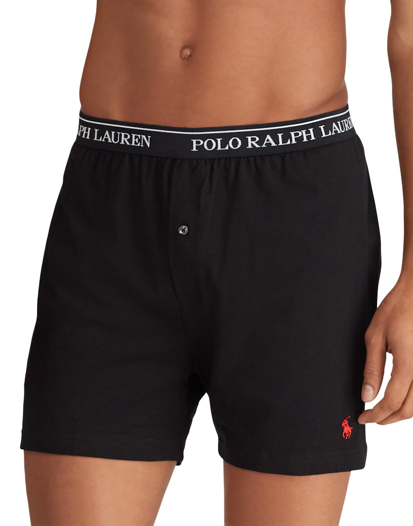 Andover Heather/Red/Black Front Polo Ralph Lauren 3-Pack Classic Cotton Knit Boxer Shorts