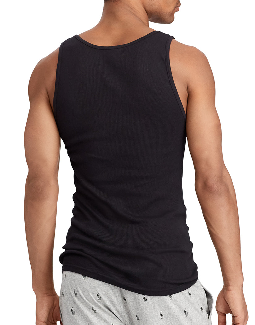 Black Back Polo Ralph Lauren 3-Pack Cotton Tank T-Shirts