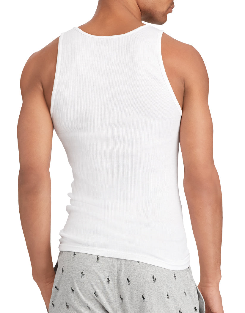 White Back Polo Ralph Lauren 3-Pack Cotton Tank T-Shirts RCTKP3