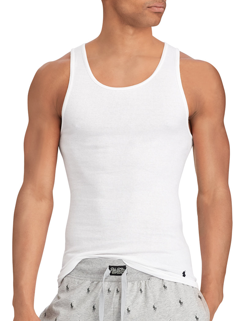 White Front Polo Ralph Lauren 3-Pack Cotton Tank T-Shirts