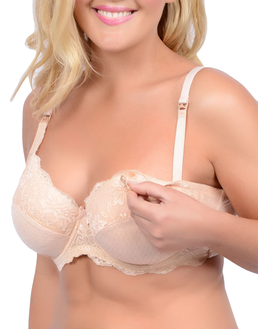 Blush Front QT Intimates La Leche League International Intimates Slightly Padded with Underwire Nursing Bra