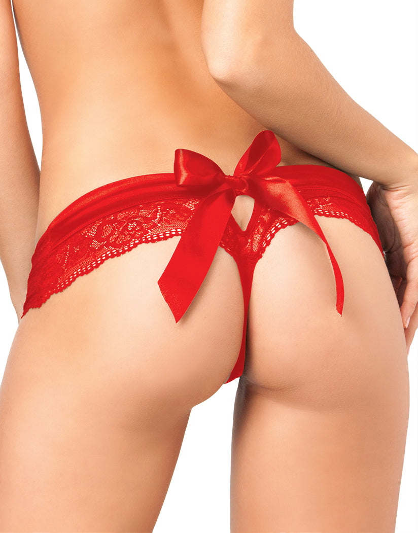 Red Back Crotchless Lace Thong with Back Bow Panty