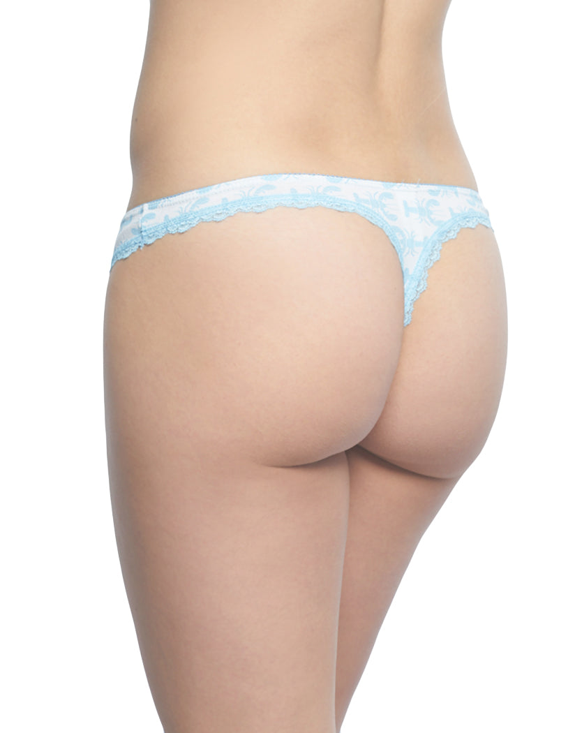 Blue Back Rene Rofe Lobster Lace Trim Thong Blue