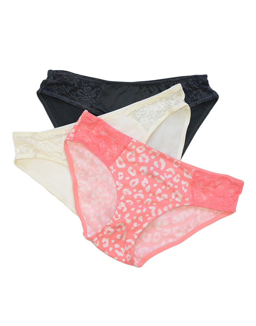Pale Flamingo/Snow Cap/Bold Ink Other Rene Rofe 3 Pack Hipster with Lace Trim Panty