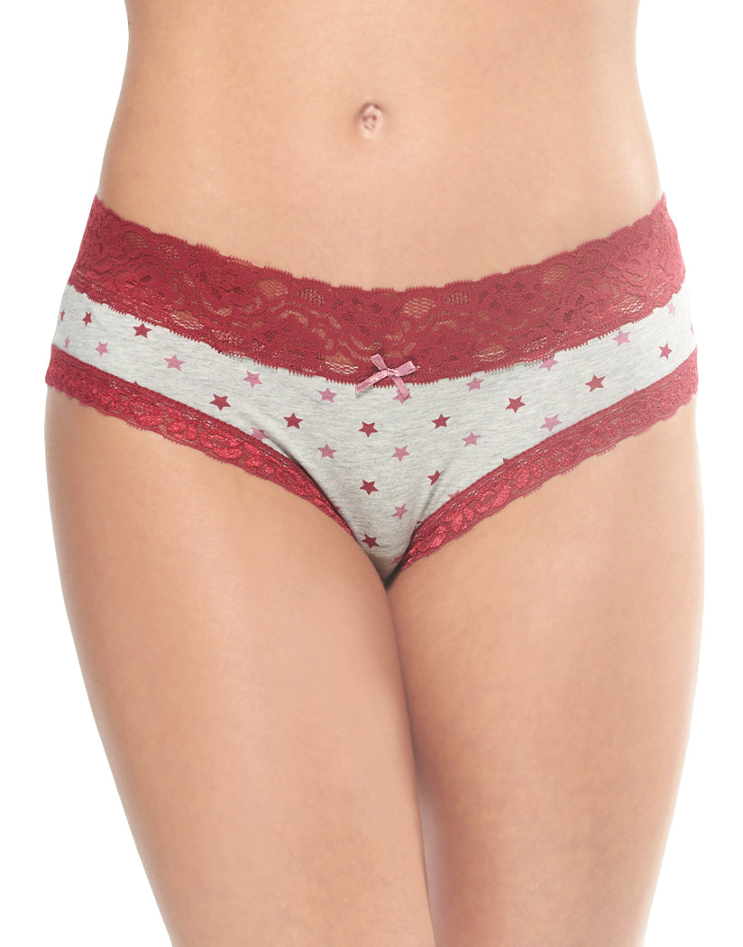 Grey/Port Stars Front International Intimates Laced So Sweet Hipster 156659