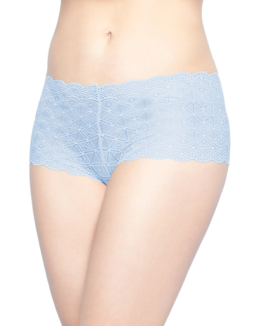 Washed Blue/White/Coastal Gray Front Rene Rofe 3 Pack Lace Boyshort Panty 195911H3