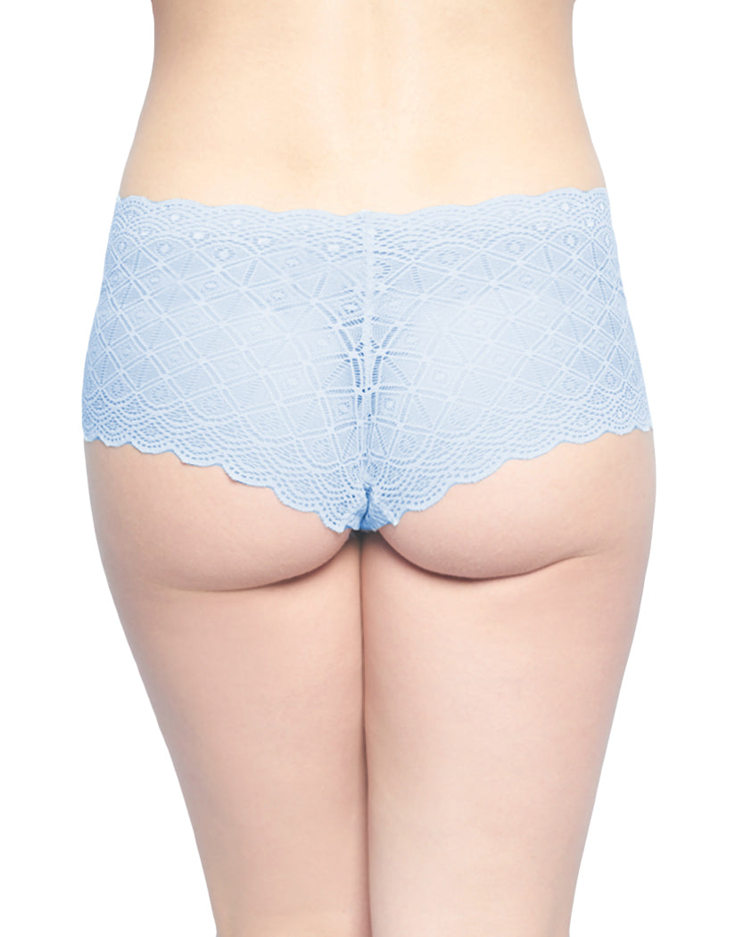 Washed Blue/White/Coastal Gray Back Rene Rofe 3 Pack Lace Boyshort Panty 195911H3