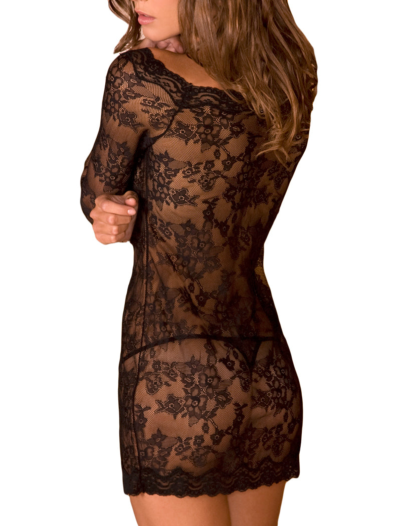 Black Back Long Sleeve Chemise Dress Set