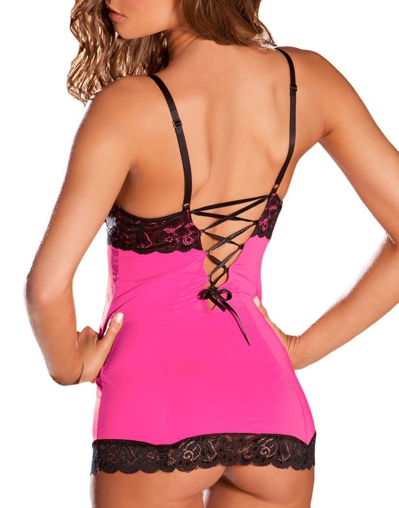 Hot Pink Back Hollywood Chemise with G-String