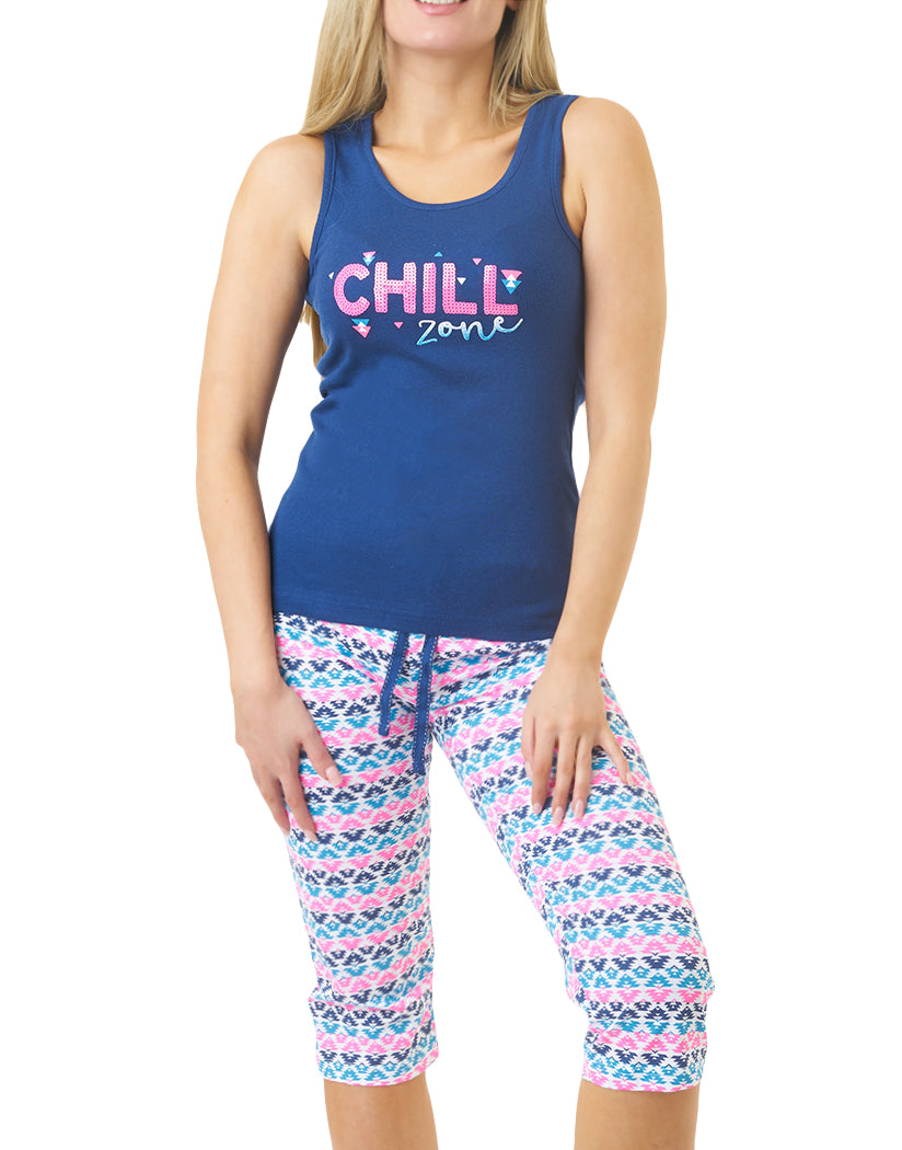 Dark Blue Front LALA Sleepwear by Rene Rofe Chill Zone Racerback Capri Set