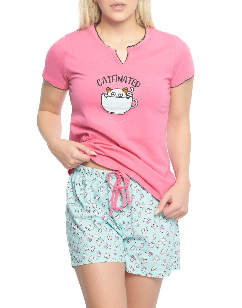 Carmine Rose Front Rene Rofe Catfinated Two Piece Sleepset
