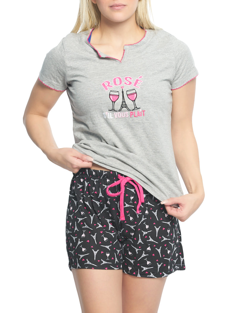 Heather Gray Front Rene Rofe Rose S'il Vous Plait 2 pc Short Sleeve V-Neck Top and Short