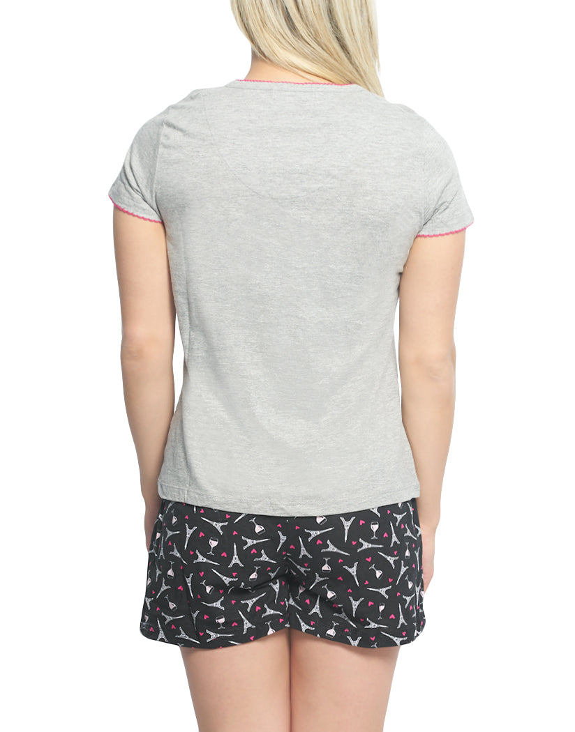 Heather Gray Back Rene Rofe Rose S'il Vous Plait 2 pc Short Sleeve V-Neck Top and Short