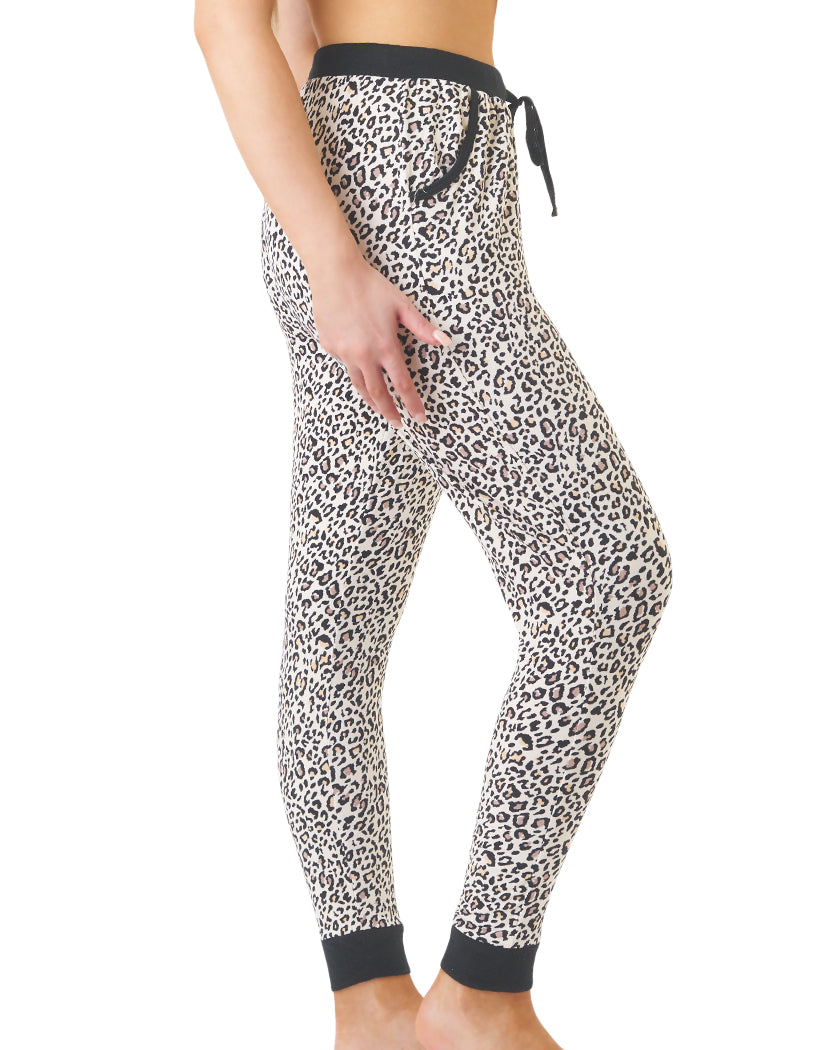 Black Stripe Side Pillow Talk by Rene Rofe Leopard Print Jogger Pant