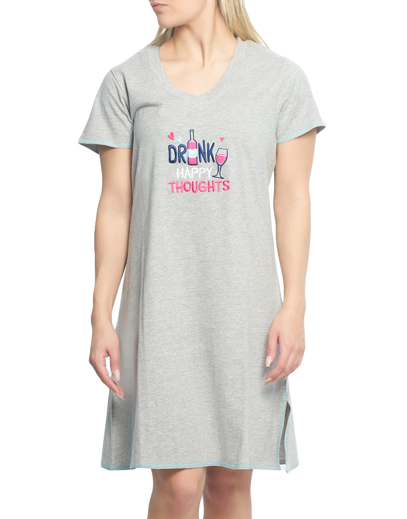Heather Gray Front Rene Rofe Drink Happy Thoughts V-Neck Sleepshirt