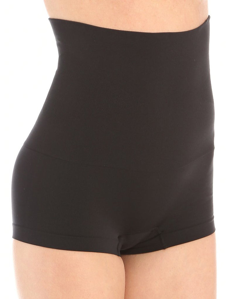Black Front Slim Waister High Waisted Boyshort