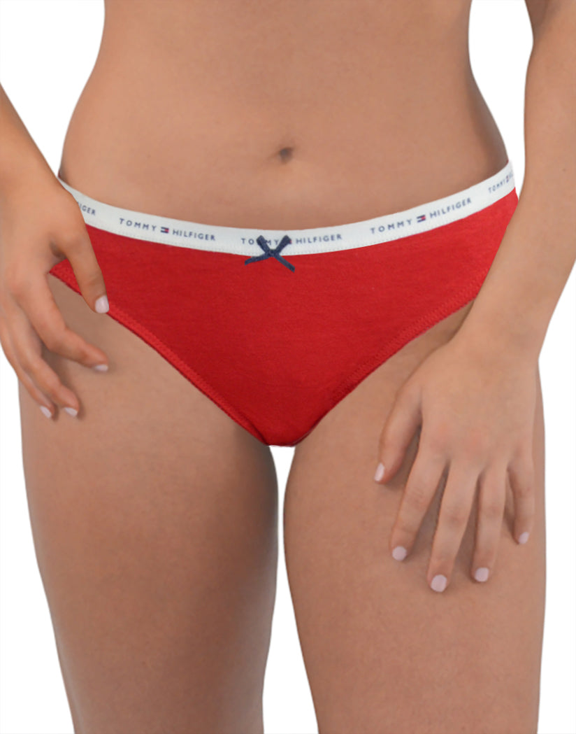 Logo Heather Gray/Peacoat/Tango Red Front Tommy Hilfiger 3-Pack Thongs