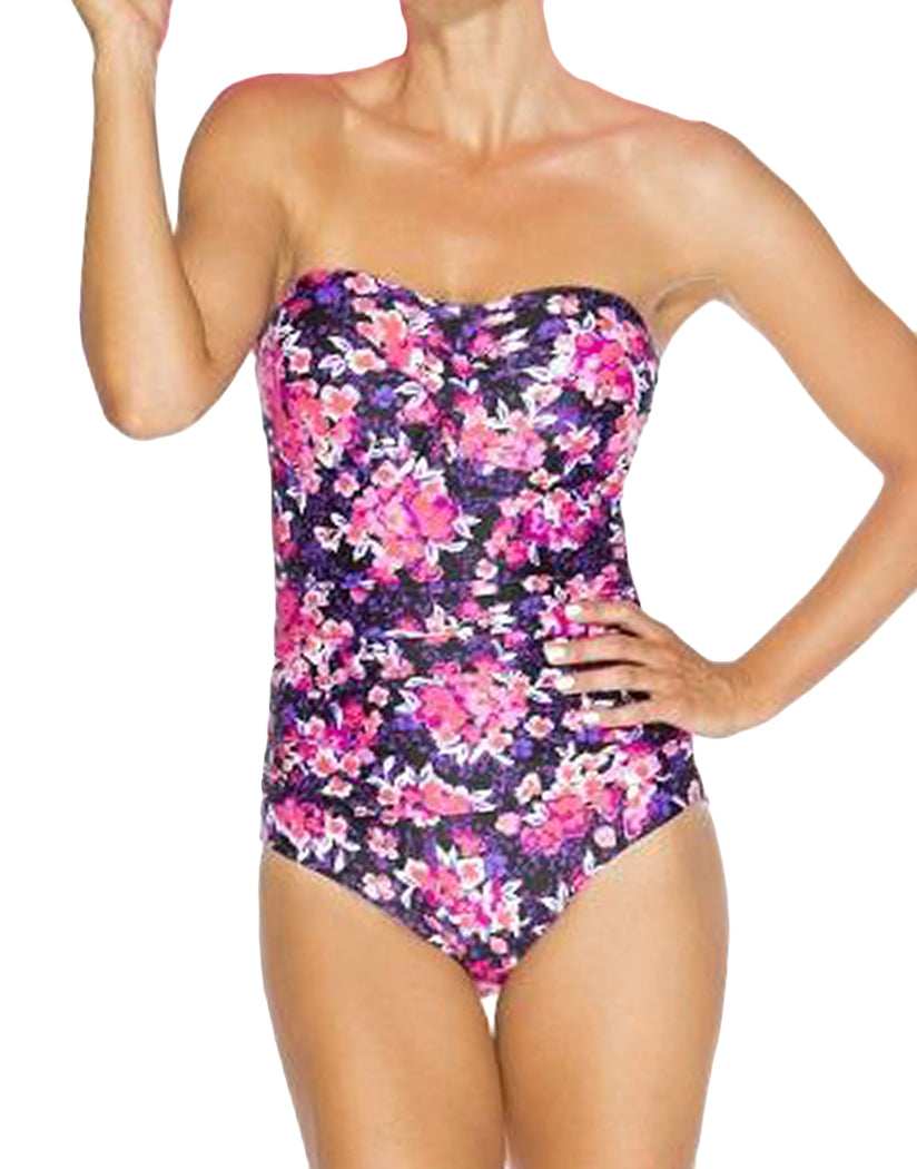 Spring Floral Front TOGS Ombre Bandeau One-Piece Swimsuit Floral BOBB9552-1