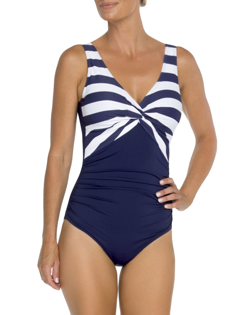 Navy and White Stripe Front TOGS Classic Navy and White Stripe V Neck Twist One Piece 1010202