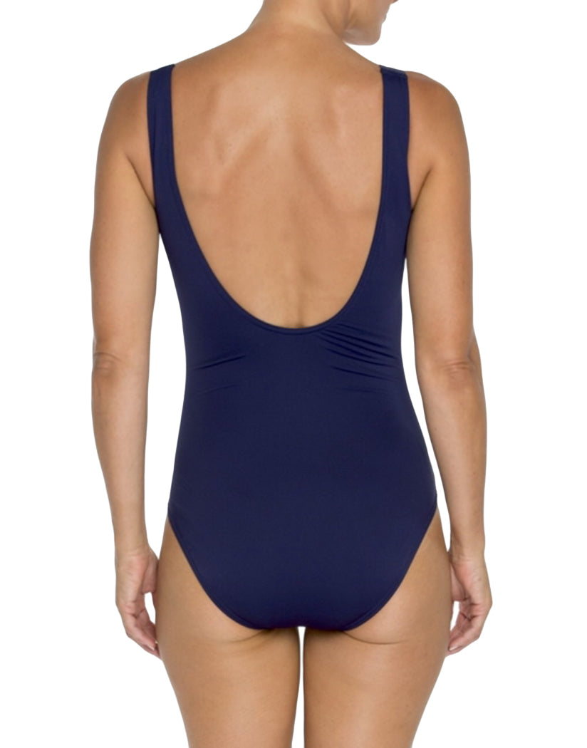 Navy and White Stripe Back TOGS Classic Navy and White Stripe V Neck Twist One Piece 1010202
