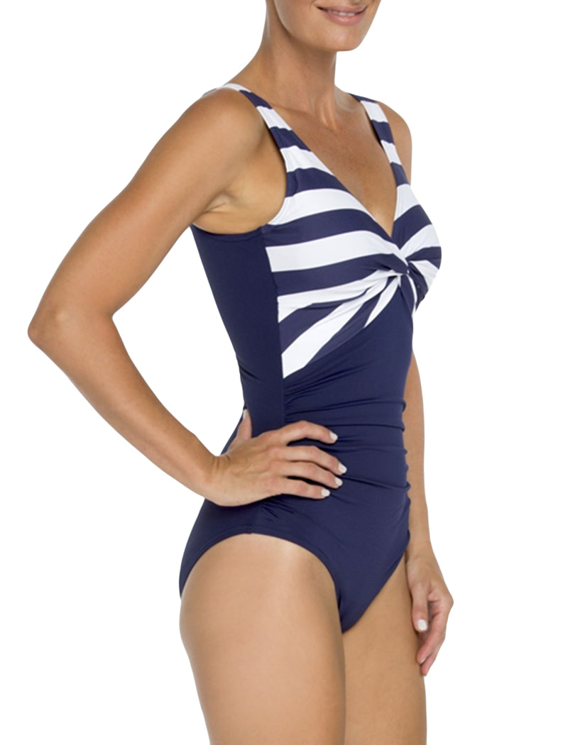Navy and White Stripe Side TOGS Classic Navy and White Stripe V Neck Twist One Piece 1010202