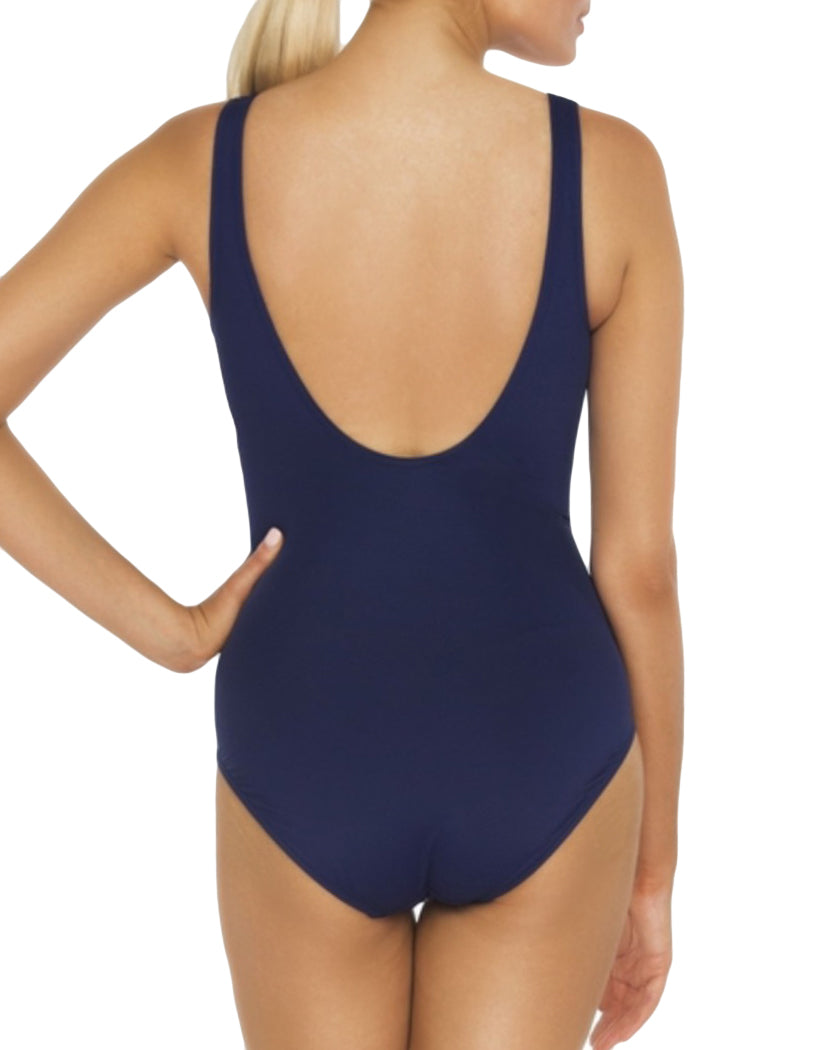 Navy Back TOGS Gathered Navy Tank One Piece
