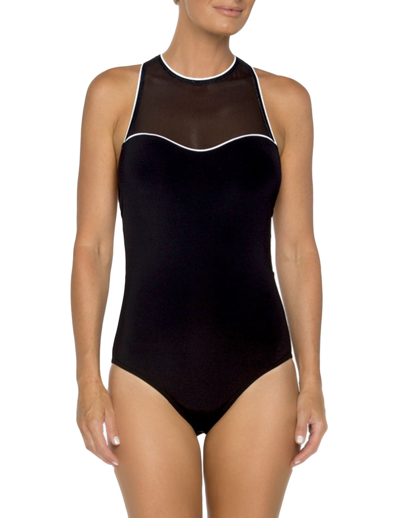 Black and White Front TOGS Mason Dixon Racerback Mesh One Piece 1732432