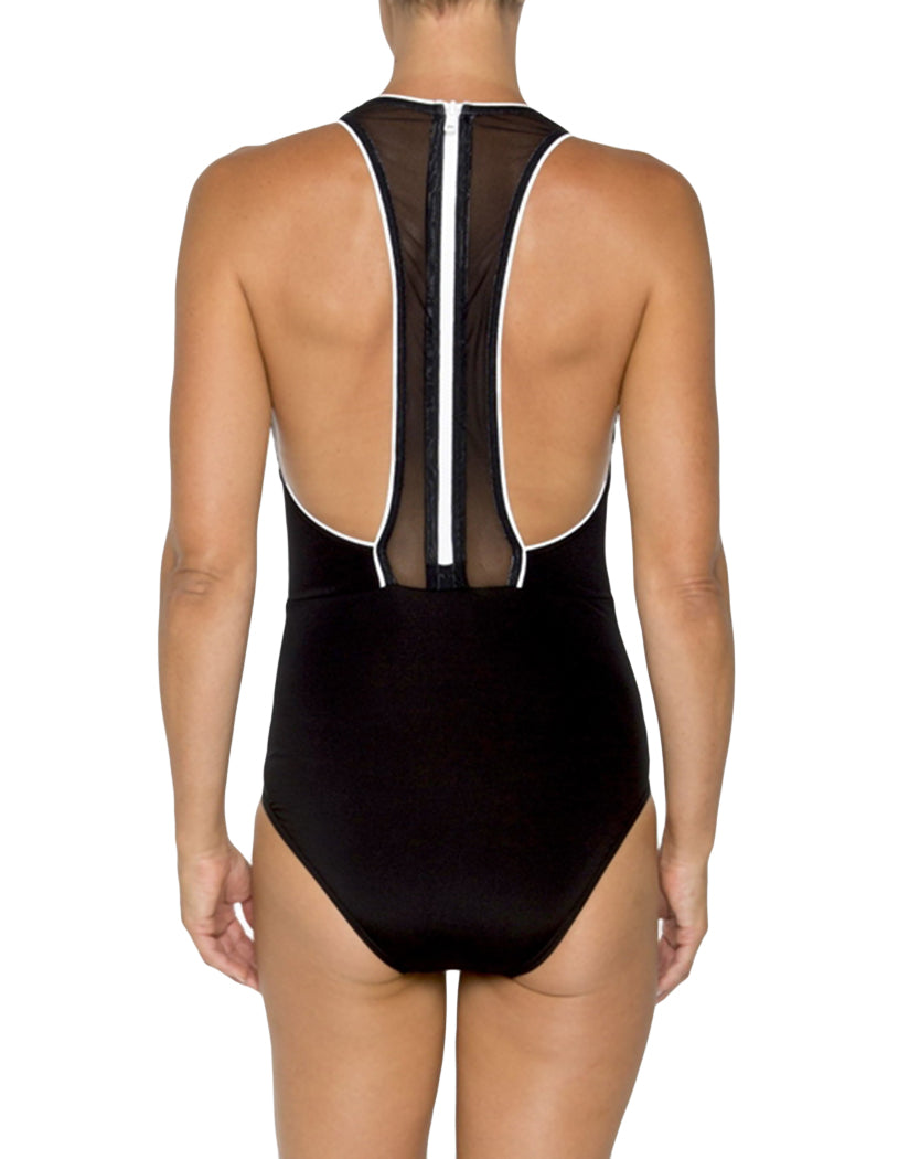 Black and White Back TOGS Mason Dixon Racerback Mesh One Piece