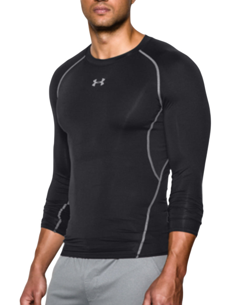 Black/Steal Side Under Armour HeatGear Armour Long Sleeve Compression Tank 1257471