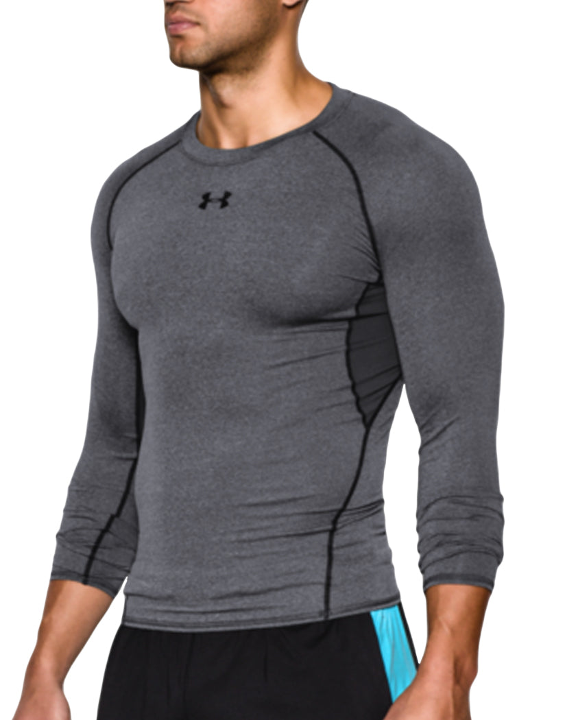 Carbon Heather/Black Side Under Armour HeatGear Armour Long Sleeve Compression Tank 1257471