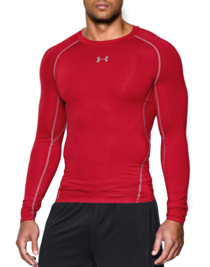 Red/Steel Front Under Armour HeatGear Armour Long Sleeve Compression Tank 1257471