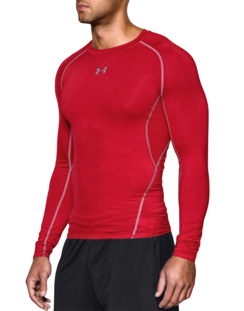 Red/Steel Side Under Armour HeatGear Armour Long Sleeve Compression Tank 1257471