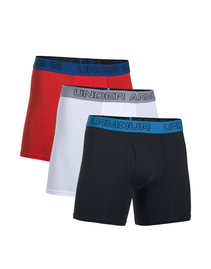 """Under Armour Charged Cotton Stretch 6"""""""" Boxerjock 3 Pack Black-White-Red S"""" 191168786186"""
