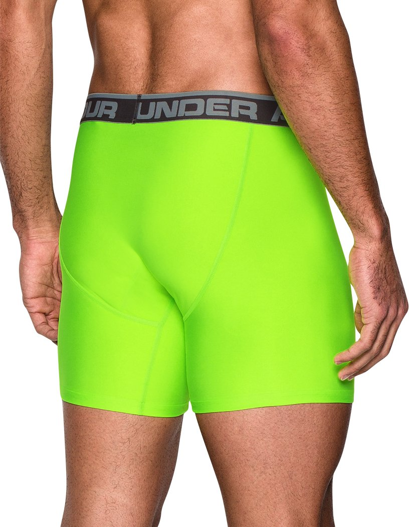 Carbon Heather/Hyper Green Back Under Armour Original Series 6 Boxerjock 2-Pack