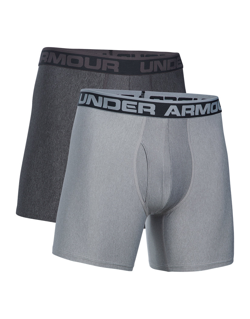True Grey Heather/Carbon Grey Front Under Armour Original Series 6 Boxerjock 2-Pack