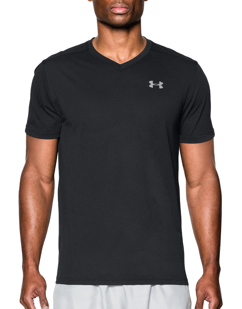 Black Front Under Armour Streaker Run V-Neck T-Shirt
