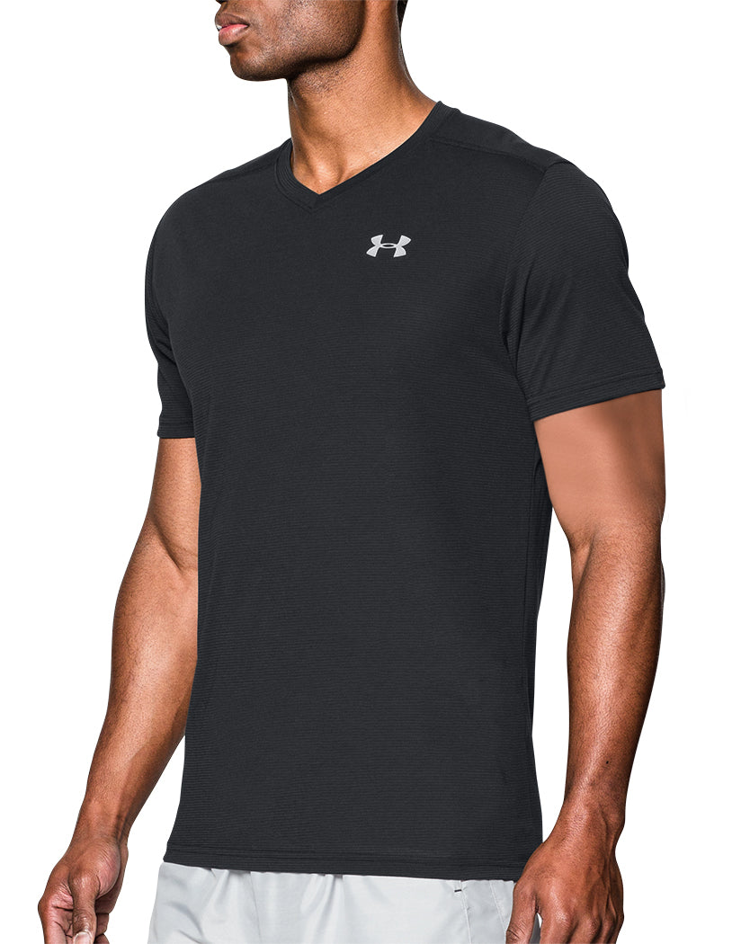 Black Side Under Armour Streaker Run V-Neck T-Shirt