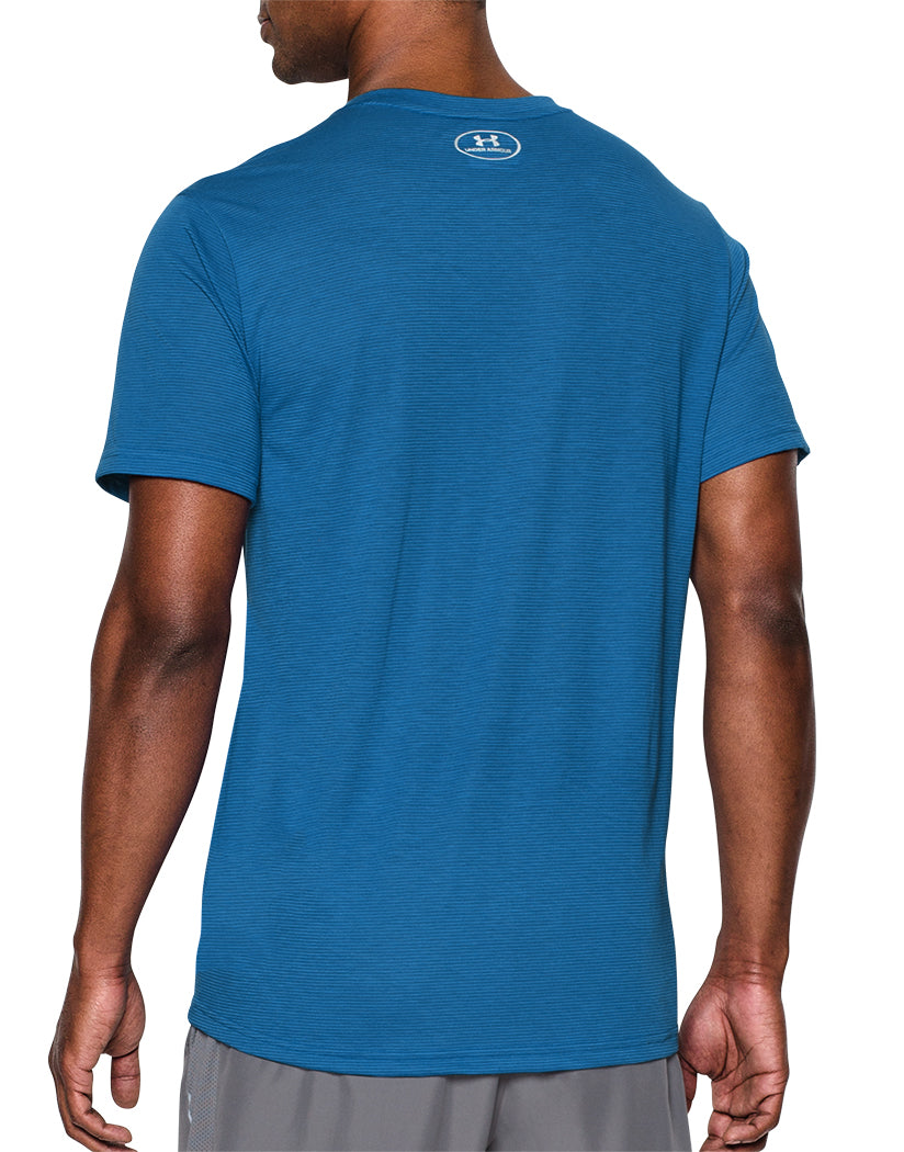 Bright Blue Back Under Armour Streaker Run V-Neck T-Shirt