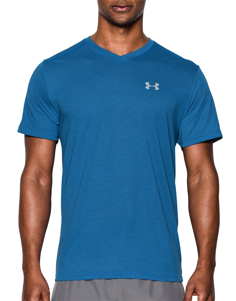 Bright Blue Front Under Armour Streaker Run V-Neck T-Shirt